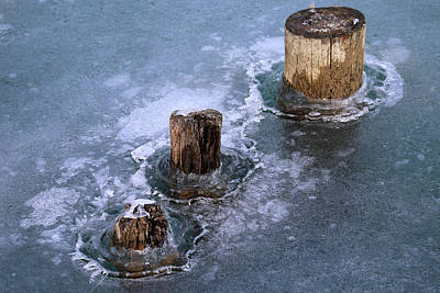 Photograph - Pilings In Ice 2017 7 by Mary Bedy