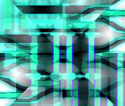 Green Surreal Geometry Digital Art - Pillars Of Hercules by Abstract Angel Artist Stephen K