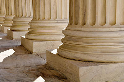 Column Photograph - Pillars Of Law And Information At The United States Supreme Cour by Brandon Bourdages