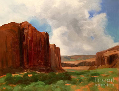 Oil Landscape Painting - Pillars Of Monument Valley by Karen Winters