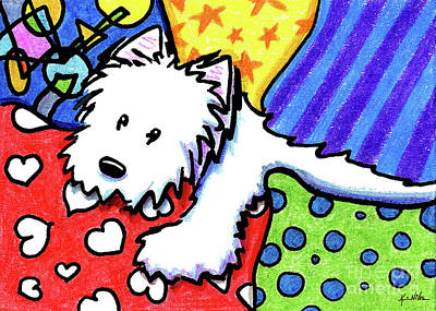 Pillow Pile Westie Art Print by Kim Niles