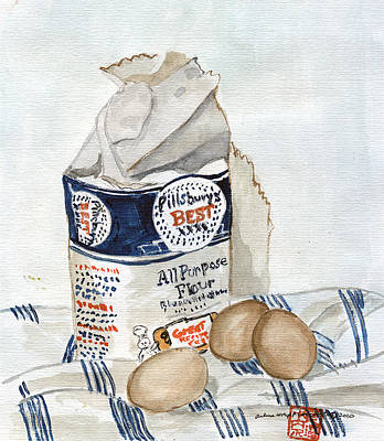 Pillsbury Flour And Brown Eggs Art Print by Arlene  Wright-Correll