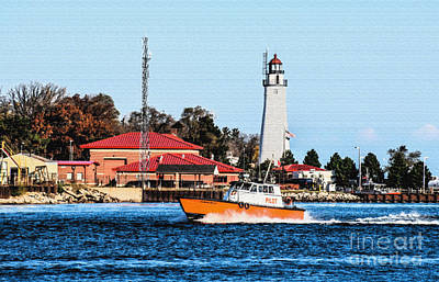 Photograph - Pilot Boat And Fort Gratiot Lighthouse by Grace Grogan