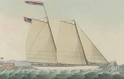 Drawing - Pilot Boat William J. Romer, Captain Mcguire, Leaving For England February 9th 1846  by Currier and Ives