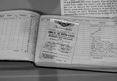 Air Force Photograph - Pilot Certificate Logbook B-24 Tulsamerican by John Straton