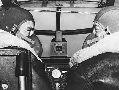 Photograph - Pilots In B-25 Cockpit by Underwood Archives