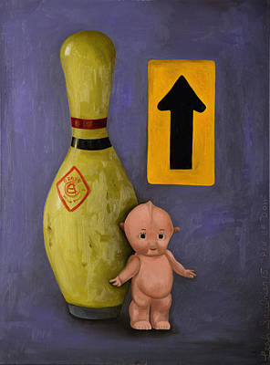 Bowling Painting - Pin Up Doll by Leah Saulnier The Painting Maniac