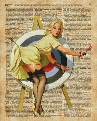 Pin Up Girl Archery Vintage Dictionary Art Art Print by Jacob Kuch