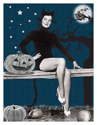 Pumpkin Art Card Mixed Media - Pin Up Girl In Halloween Costume by Long Shot