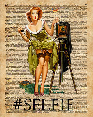 Tapestries - Textiles Mixed Media - Pin Up Girl Making #selfie Vintage Dictionary Art by Jacob Kuch