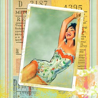 Pin Up Girl Square Art Print