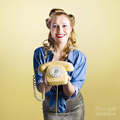 Pin-up Hotline Phone Operator. Call Us Art Print