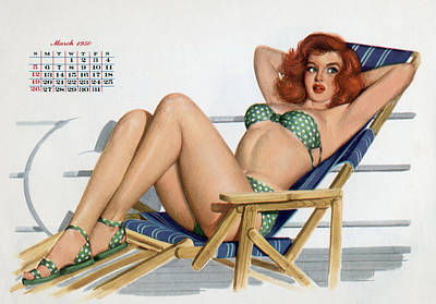 Pin Up In Bikini On A Deckchair On A Boat Art Print by American School
