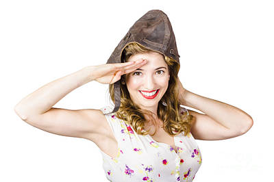 Vintage Hats Photograph - Pin Up Lady Saluting In Fighter Pilot Cap by Jorgo Photography - Wall Art Gallery