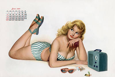 Icon Drawing - Pin Up Listening To Radio by American School