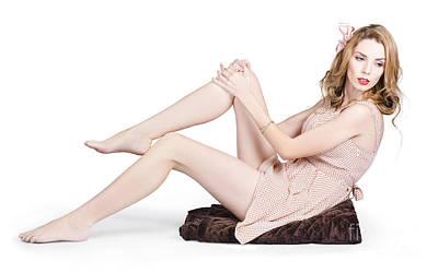 Pin Up Woman Posing In Retro Fashion On Throw Rug Art Print