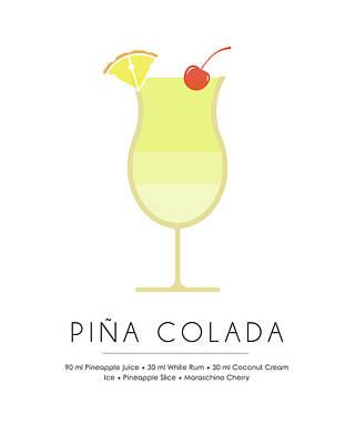 Champagne Mixed Media - Pina Colada Classic Cocktail - Minimalist Print by Studio Grafiikka