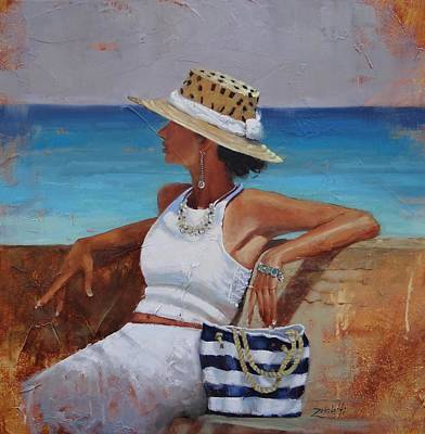 Fashion Painting - Pina Colada Please by Laura Lee Zanghetti