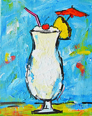 Painting - Pina Colada - Tropical Drink - Modern Art - Patio Bathroom Decor by Patricia Awapara