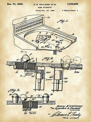 Pinball Machine Patent 1939 - Vintage Print by Stephen Younts