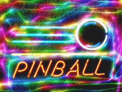Mixed Media - Pinball Neon Sign by Dan Sproul