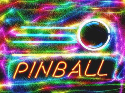 Pinball Neon Sign Art Print