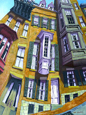 Brownstone Painting - Pinckney Street I by Mike Gruber