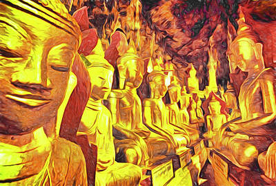 Digital Art - Pindaya Buddhas by Dennis Cox Photo Explorer