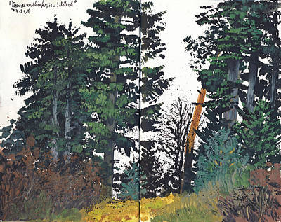 Painting - Pine And Fir Tree Forest by Martin Stankewitz