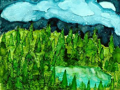 Joy Dorr Painting - Pine And Pond by Joy Dorr