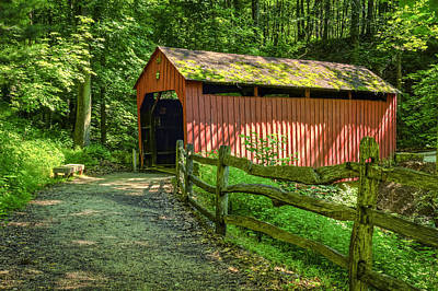 Photograph - Pine Bank Or Meadowcroft Village Covered Bridge by Jack R Perry