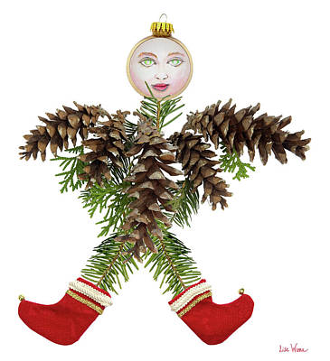 Mixed Media - Pine Cone Angel by Lise Winne