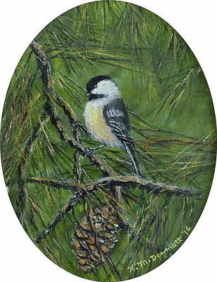 Painting - Pine Cone Chickadee by Kathleen McDermott