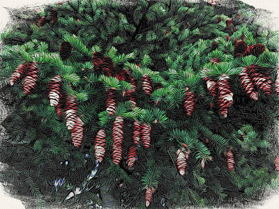 Holiday Card Photograph - Pine Cone Garland by Holly Massie