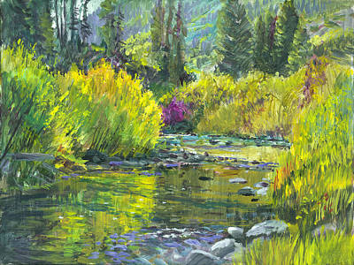 Idaho Landscape Painting - Pine Creek Plein-air by Steve Spencer