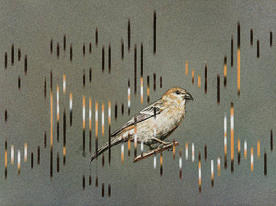Painting - Pine Grosbeak And Song by Carol Hanna