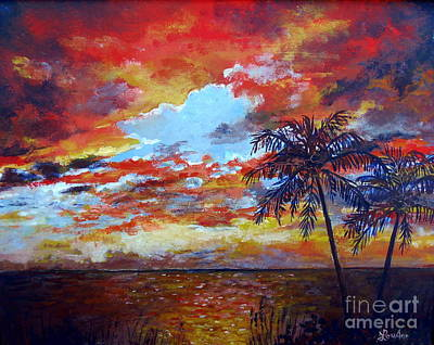 Art Print featuring the painting Pine Island Sunset by Lou Ann Bagnall