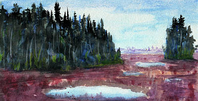 Mixed Media - Pine Islands In Marsh by R Kyllo