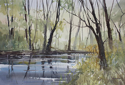Watercolor Painting - Pine River Reflections by Ryan Radke