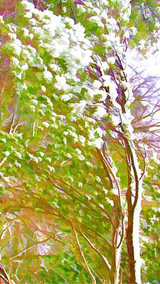 Twiggy Painting - Pine Tree Covered With Snow by Lanjee Chee