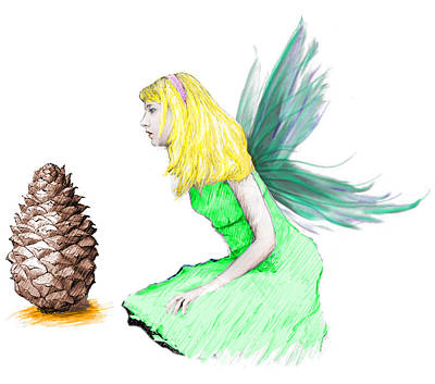 Digital Art - Pine Tree Fairy And Pine Cone by Yuichi Tanabe