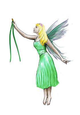 Digital Art - Pine Tree Fairy Holding Pine Needles by Yuichi Tanabe