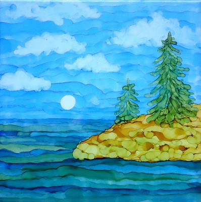 Painting - Pine Tree Moon And Water Painting by Laurie Anderson