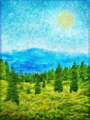 Digital Art - Pine Tree Mountain Blue - Shasta California by Joel Bruce Wallach