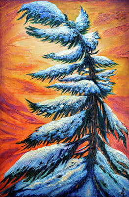 Painting - Pine Tree Winter Portrait by Lilia D
