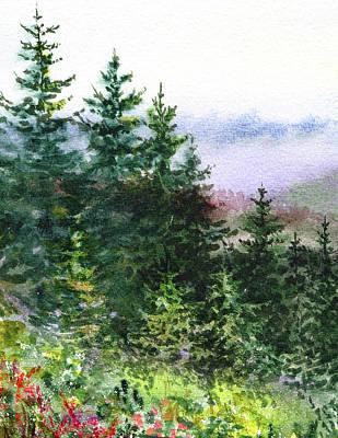Northern California Painting - Pine Trees And Meadow  by Irina Sztukowski