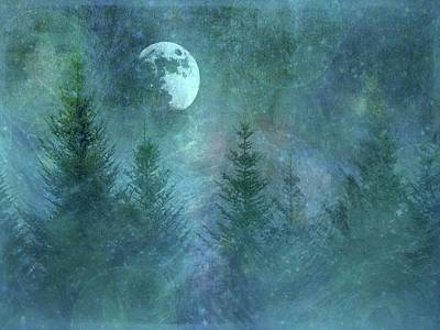 Pyrography - Pine Trees Under Moon by Phyllis Meinke
