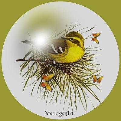 Warbler Digital Art - Pine Warbler by Madeline  Allen - SmudgeArt