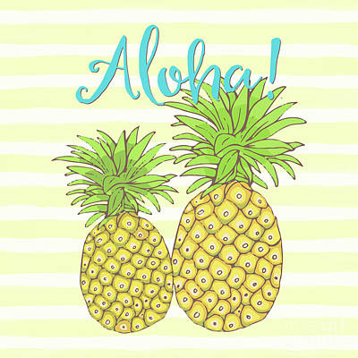 Good Luck Painting - Pineapple Aloha Tropical Fruit Of Welcome Hawaii by Tina Lavoie