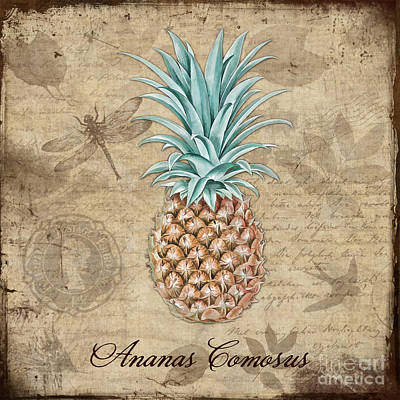 Pineapple Digital Art - Pineapple, Ananas Comosus Vintage Botanicals Collection by Tina Lavoie